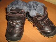 Зимние кожаные ботинки  на  натуральном меху