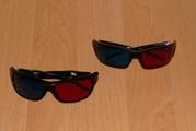 3D красно синие очки в пластиковой оправе RED+CYAN/BLUE Улучшенная фор